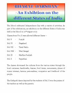 'Bharat Darshan' – An Exhibition on the different States of India (10th August 2017)