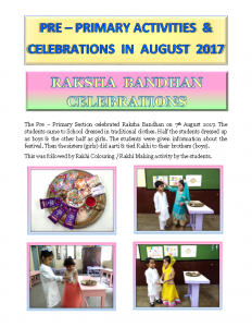 Pre – Primary Activities & Celebrations in August 2017