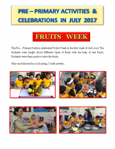Pre – Primary Activities & Celebrations in July 2017